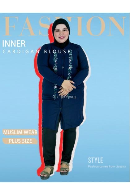 CY 1003B WOMAN PLUS SIZE MUSLIMAH CARDIGAN BLOUSE SHIRT KOREA  WEAR /  MUSLIMAH BLOUSE SIZE BESAR / BLACK / DARK BLUE