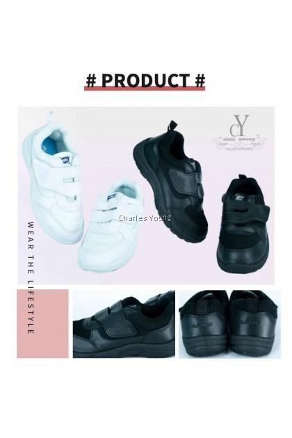 100% Original PALLAS 0164 Black Shoe   Kasut Sekolah PALLAS  Hitam  Putih / Pallas Jazz Single Velcro Strap /  PALLAS SHOE