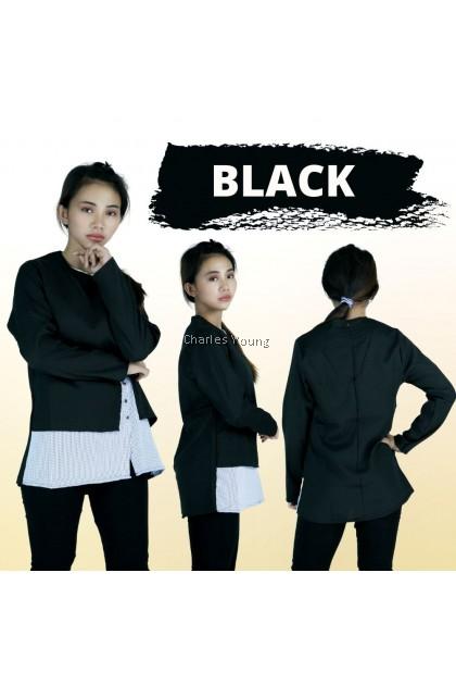 CY 005 WOMAN PLUS SIZE MUSLIMAH OFFICE BLOUSE SHIRT KOREA  WEAR /  MUSLIMAH BLOUSE / BLACK / NAVY BLUE / PINK
