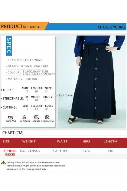 CY 0722 PLUS SIZE LONG SKIRT KAIN PANJANG MUSLIMAH DRESS A-LINE BESAR / LONG SKIRT EUROPEAN STYLE
