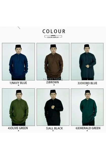 CY V1123BKM KURTA MODERN DEWASA MUSLIM BAJU MELAYU NAVY BLUE / BROWN OXFORD BLUE /  OLIVE GREEN / EMERLAD GREEN / BLACK