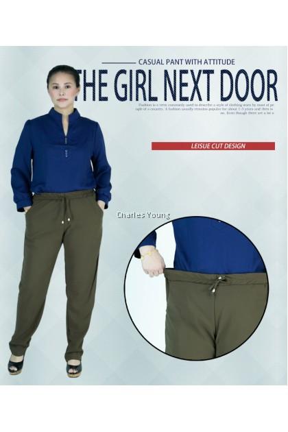 CY 04 Plus Size Women pants Casual Summer Cotton Linen Lady Ankle-length Capris Trousers Pencil Pant / Seluar Panjang Cotton