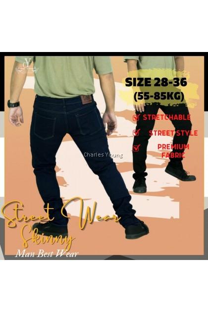 CY A7788 Men's Skinny Easy Slim Fit Flex Jean Business Casual Blue Black Denim Trousers / Seluar Jeans Lelaki Viral